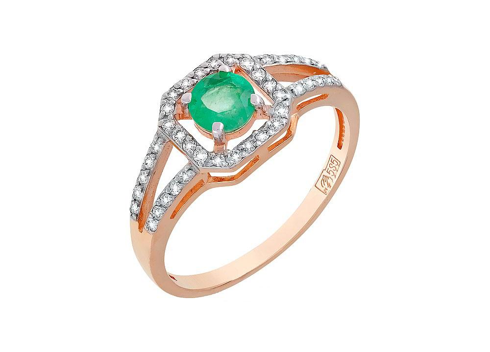 Кольцо с бриллиантом и изумрудом КЛ-499К-322-1-13-00
