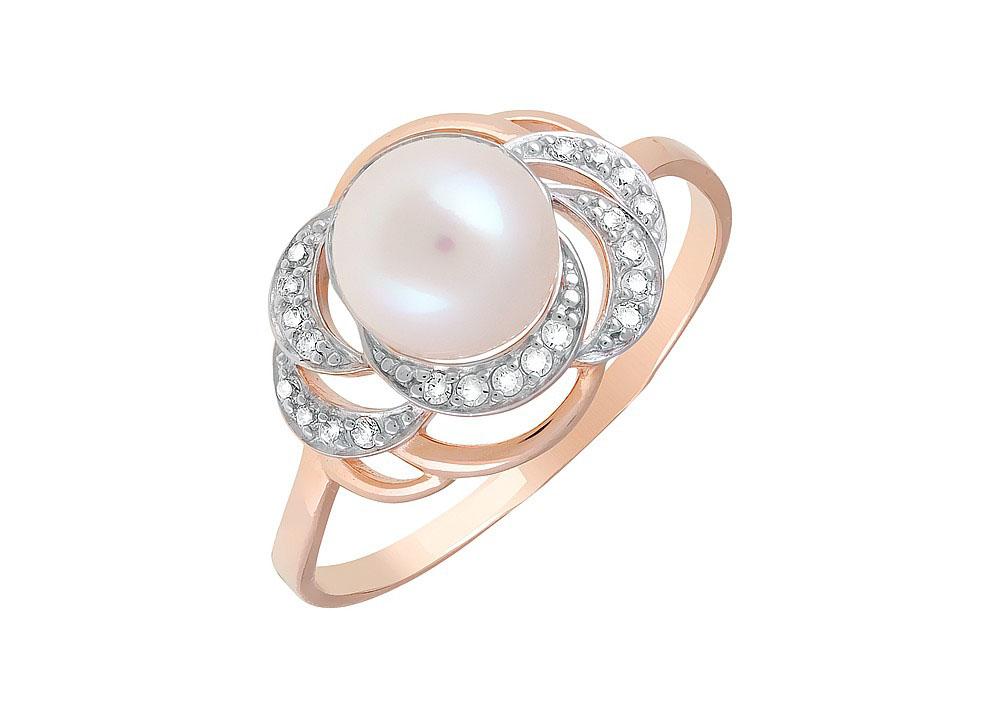 Кольцо с жемчугом и фианитом К1363472