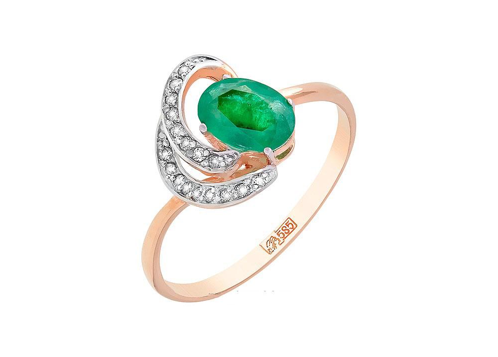 Кольцо с бриллиантом и изумрудом КЛ-415К-321-1-15-00