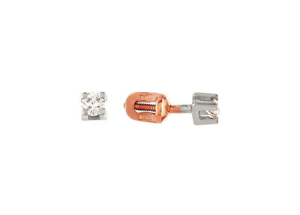 Пуссеты с бриллиантом ПСЛ-107К-Б-208-44