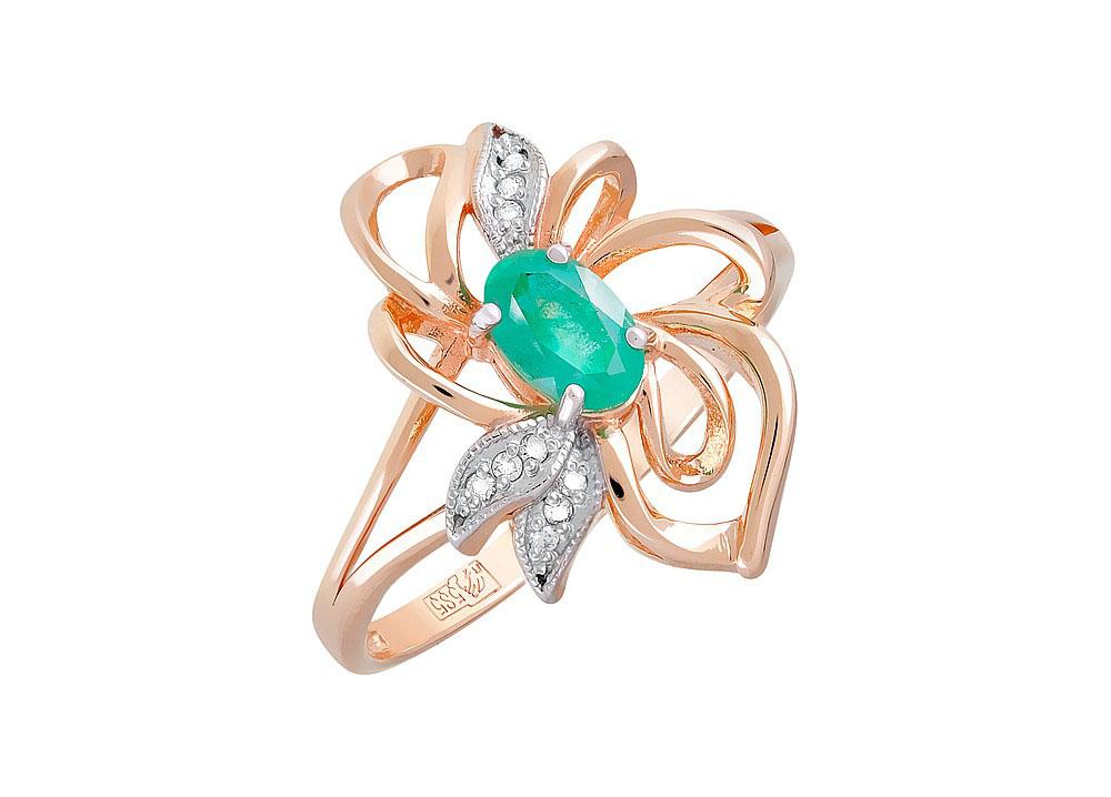 Кольцо с бриллиантом и изумрудом КЛ-538К-322-1-15-00