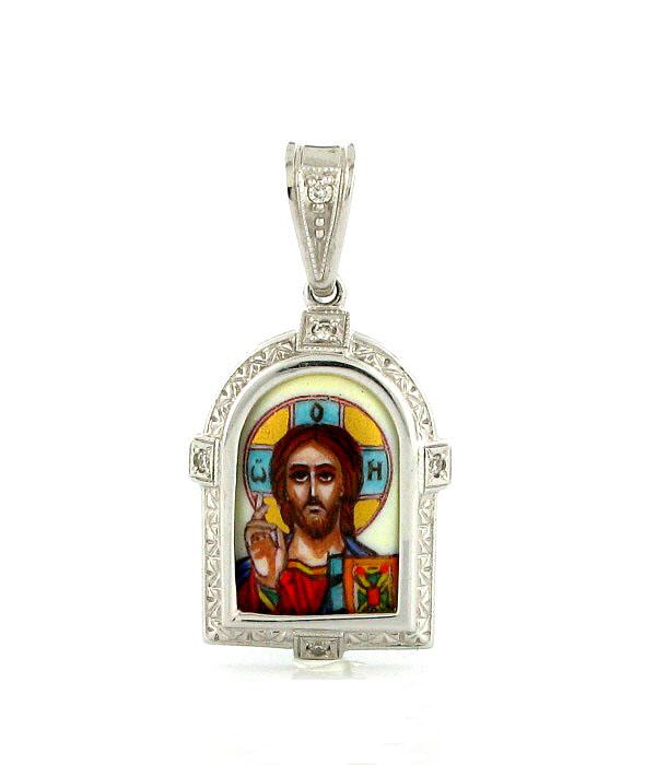 Икона с бриллиантом и эмалью ПЛ-050Б-Б-ВСЕДЕРЖИТЕЛЬ