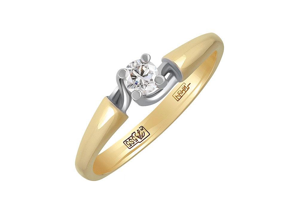 Кольцо с бриллиантом КЛ-209Ж-Б-170-35 .